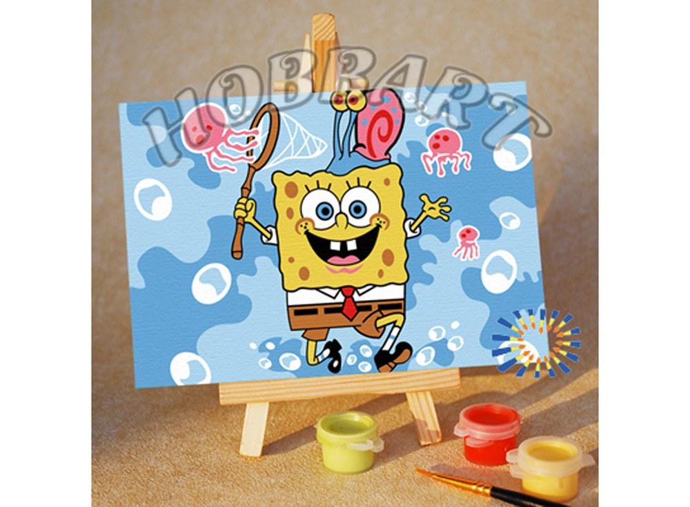 Купить Картина по номерам «Spong Bob: охота на удачу», Hobbart, Россия, 10x15 см, M1015148