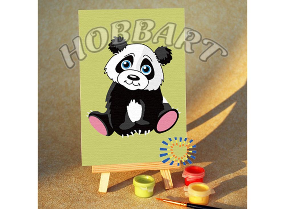 Картина по номерам «Мишутка панда»10x15<br><br><br>Артикул: M1015158<br>Основа: Картон<br>Сложность: очень легкие<br>Размер: 10x15 см<br>Количество цветов: 7<br>Техника рисования: Без смешивания красок