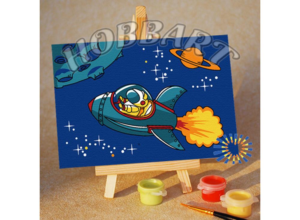 Картина по номерам «По просторам галактики»10x15<br><br><br>Артикул: M1015159<br>Основа: Картон<br>Сложность: очень легкие<br>Размер: 10x15 см<br>Количество цветов: 8<br>Техника рисования: Без смешивания красок