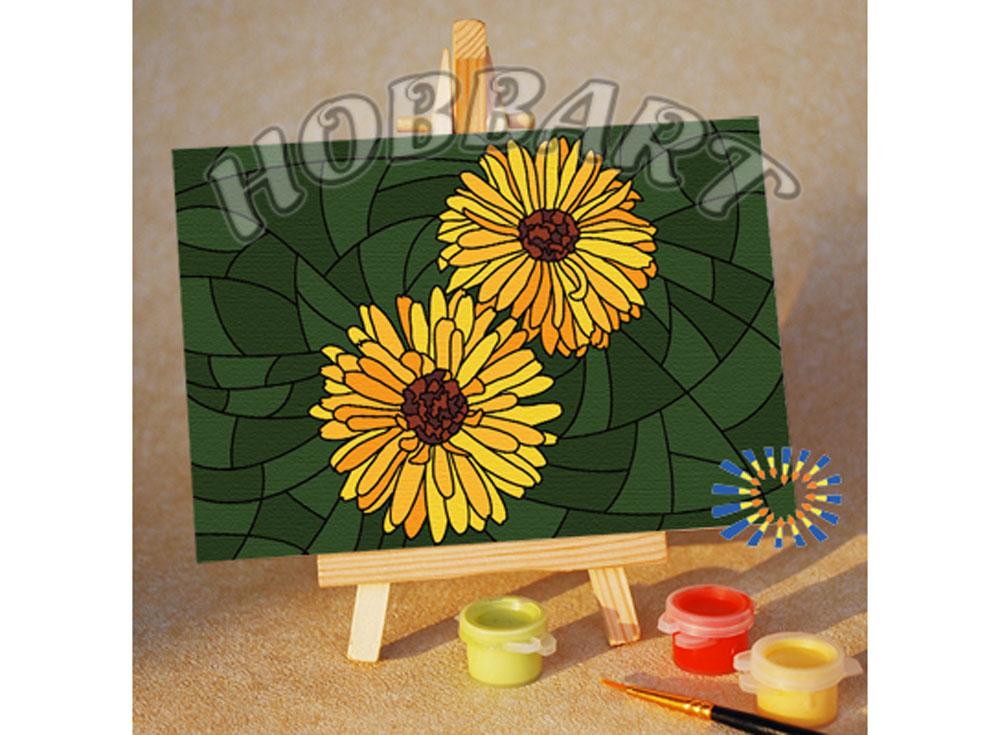 «Мозаика — Герберы»10x15<br><br><br>Артикул: M1015173<br>Основа: Картон<br>Сложность: очень легкие<br>Размер: 10x15 см<br>Количество цветов: 8<br>Техника рисования: Без смешивания красок