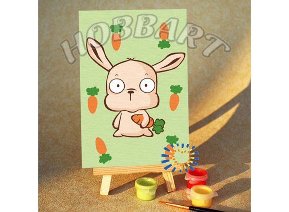 «Зайчик с морковкой»10x15<br><br><br>Артикул: M1015183<br>Основа: Картон<br>Сложность: очень легкие<br>Размер: 10x15<br>Количество цветов: 7<br>Техника рисования: Без смешивания красок