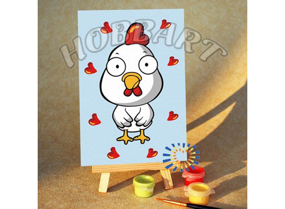 «Цыпленок»10x15<br><br><br>Артикул: M1015189<br>Основа: Картон<br>Сложность: очень легкие<br>Размер: 10x15 см<br>Количество цветов: 7<br>Техника рисования: Без смешивания красок