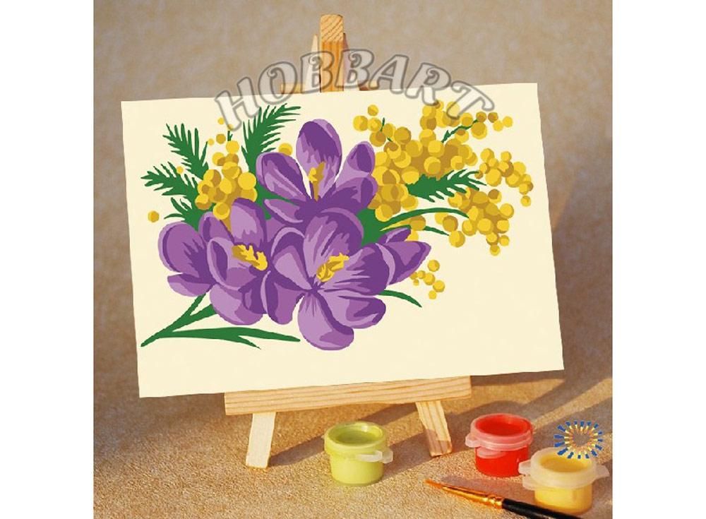 Картина по номерам «Весенний букет»10x15<br><br><br>Артикул: M1015207<br>Основа: Картон<br>Сложность: очень легкие<br>Размер: 10x15 см<br>Количество цветов: 8<br>Техника рисования: Без смешивания красок
