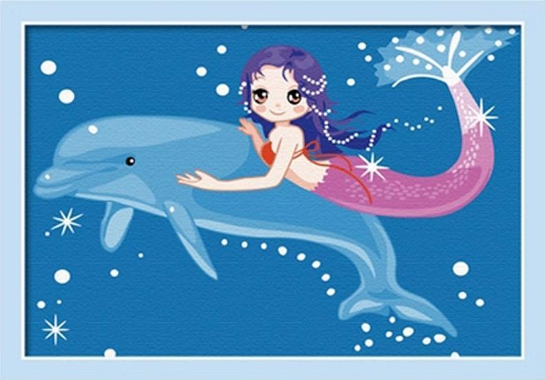 «Дельфин и русалка»Цветной (Premium)<br><br><br>Артикул: MC031_Z<br>Основа: Холст<br>Сложность: сложные<br>Размер: 20x30 см<br>Количество цветов: 25<br>Техника рисования: Без смешивания красок