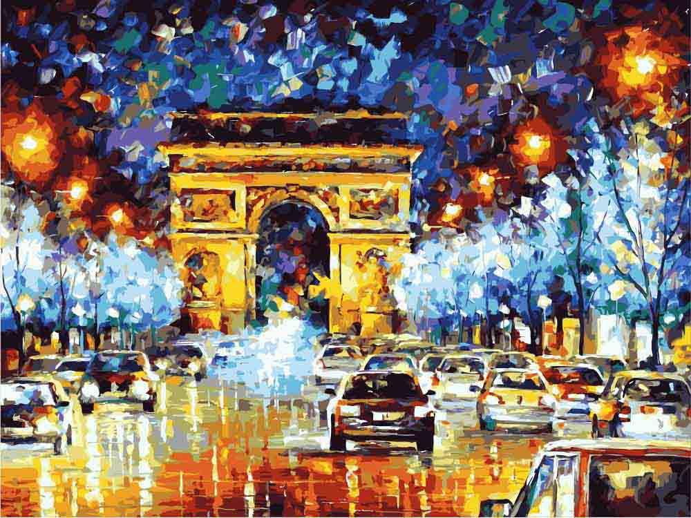 Картина по номерам «Ночные огни» Леонида АфремоваЦветной (Premium)<br>Архитектурная жемчужина Парижа, украшенная ярким нарядом, сотканным из света уличных фонарей и миллионов бликов на влажном от дождя асфальте – такой сюжет будет гармонично смотреться в гостиной, прихожей, офисе, загородном доме. Раскраска по номерам «Ночн...<br><br>Артикул: MG1018_Z<br>Основа: Цветной холст<br>Сложность: средние<br>Размер: 40x50 см<br>Количество цветов: 25<br>Техника рисования: Без смешивания красок