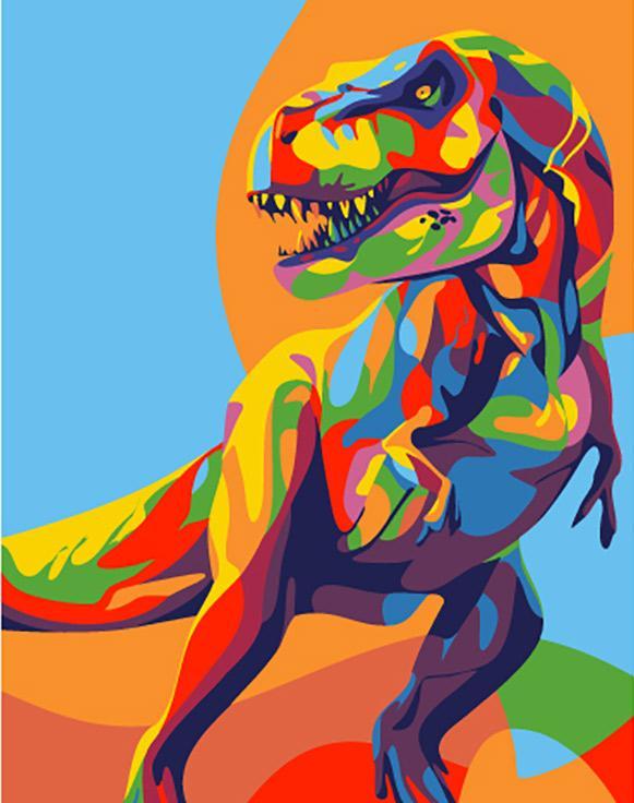 """«Радужный динозавр» (мини-раскраска)Мини-раскраска<br>НОВИНКА! Картины по номерам """"Артвентура"""" в компактном мини-размере. Российский производитель картин премиум-класса креативно реализовал идею и пожелания многих поклонников раскрасок по номерам, создав новую серию картин в нестандартном формате.<br> <br> Преим...<br><br>Артикул: MINI16130007<br>Основа: Картон<br>Сложность: средние<br>Размер: 16,5x13 см<br>Количество цветов: 12<br>Техника рисования: Со смешиванием красок"""