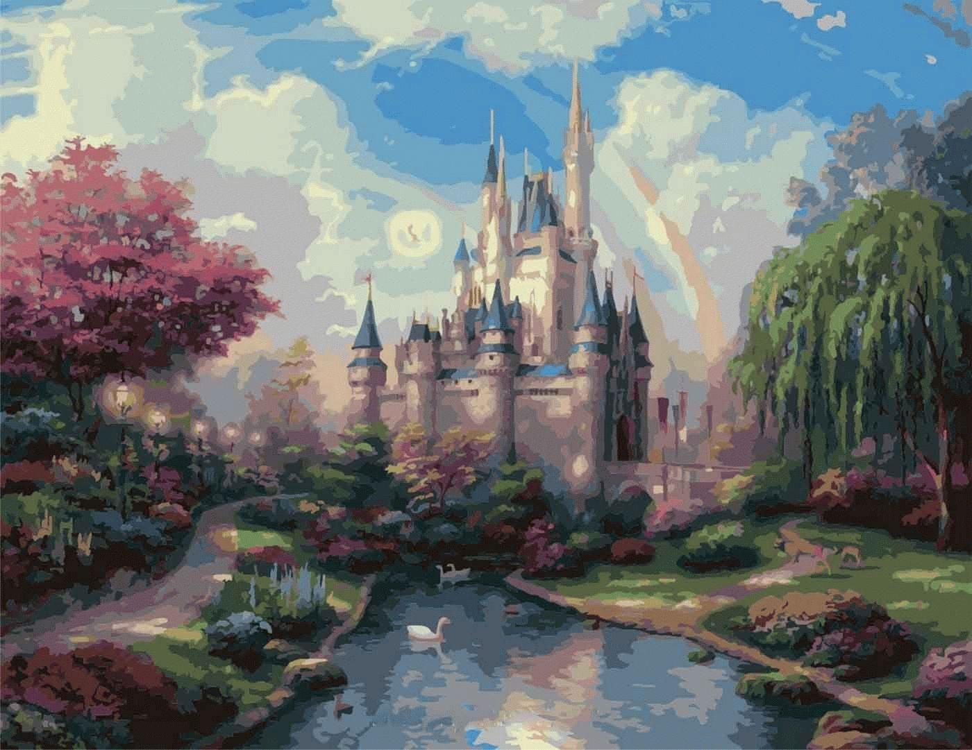"""«Замок» Томаса КинкейдаЦветной (Premium)<br>Картина по номерам """"Замок"""", созданная по сюжету полотна Томаса Кинкейда, поистине волшебная, ведь на ней изображен настоящий замок Золушки. Даже Бэмби пришел взглянуть на двойную радугу над башнями сказочного замка, которые ласково целуют ранние утренние ...<br><br>Артикул: MMC057_Z<br>Основа: Холст<br>Сложность: очень сложные<br>Размер: 50x65 см<br>Количество цветов: 30<br>Техника рисования: Без смешивания красок"""