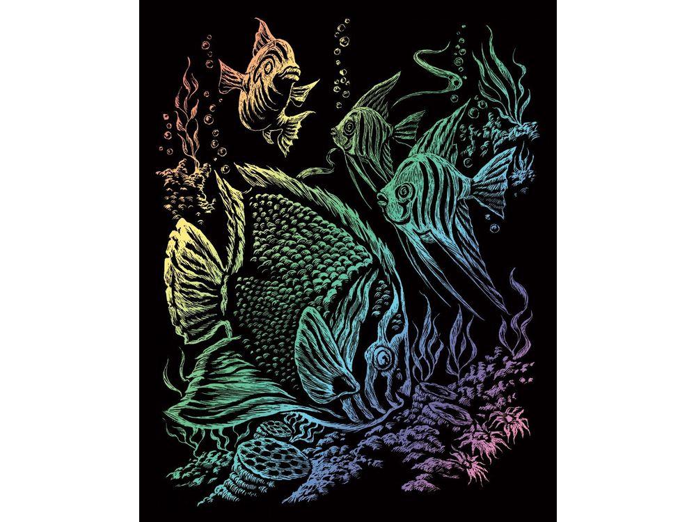 Гравюра «Тропические рыбы»Гравюры<br>Красивые образы, созданные при помощи гравировки, привлекают и техникой исполнения, и результатом.<br><br> Основа - плотный картон со специальным черным матовым покрытием и с нанесенным на него контуром-наброском. Аккуратно сцарапывайте покрытие с наброска с по...<br><br>Артикул: RAIN11<br>Размер: 20,3x25,4 см<br>Цвет: Разноцветные
