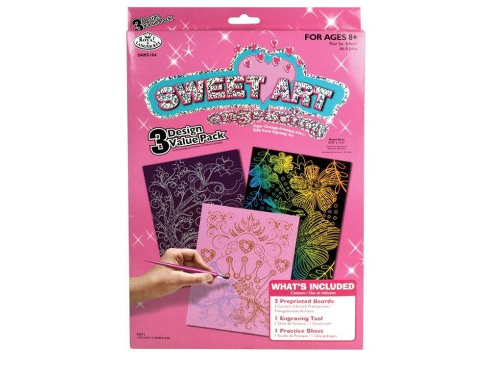 Набор гравюр Sweet Art (3 сюжета)Гравюры<br>Красивые образы, созданные при помощи гравировки, привлекают и техникой исполнения, и результатом.<br><br> Основа - плотный картон со специальным черным матовым покрытием и с нанесенным на него контуром-наброском. Аккуратно сцарапывайте покрытие с наброска с по...<br><br>Артикул: SART104<br>Размер: 20,3x25,4<br>Цвет: Разноцветные