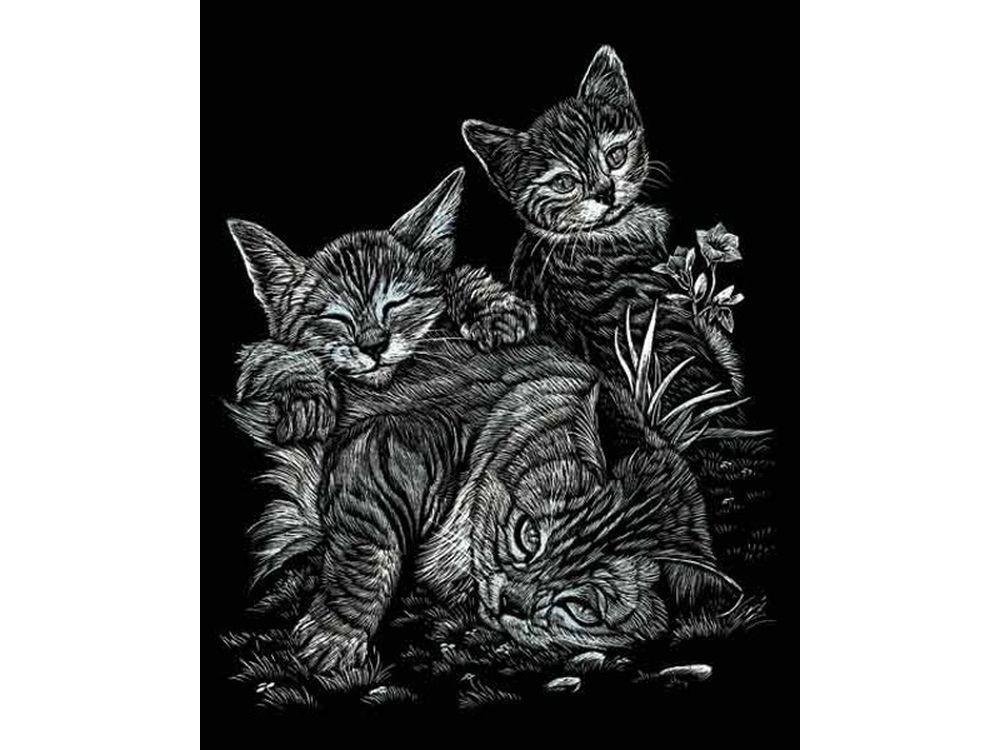 Гравюра «Кошка с котятами»Гравюры<br>Красивые образы, созданные при помощи гравировки, привлекают и техникой исполнения, и результатом.<br><br> Основа - плотный картон со специальным черным матовым покрытием и с нанесенным на него контуром-наброском. Аккуратно сцарапывайте покрытие с наброска с по...<br><br>Артикул: SILF13<br>Размер: 20,3x25,4<br>Цвет: Серебро