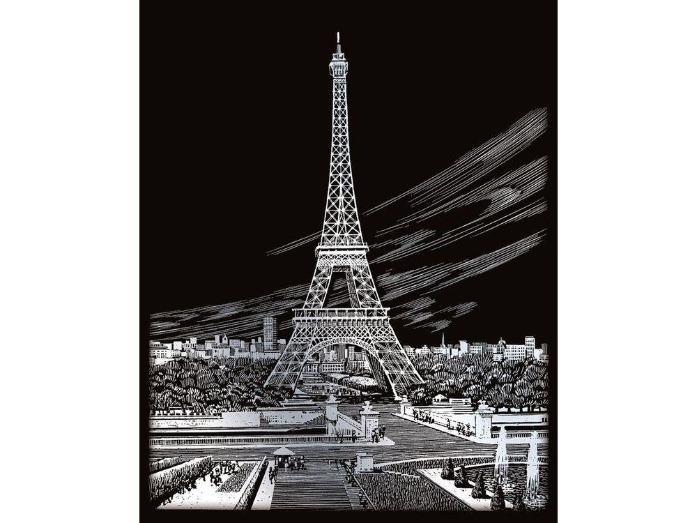 Гравюра «Эйфелева башня»Гравюры<br>Красивые образы, созданные при помощи гравировки, привлекают и техникой исполнения, и результатом.<br><br> Основа - плотный картон со специальным черным матовым покрытием и с нанесенным на него контуром-наброском. Аккуратно сцарапывайте покрытие с наброска с по...<br><br>Артикул: SILF35<br>Размер: 20,3x25,4 см<br>Цвет: Серебро