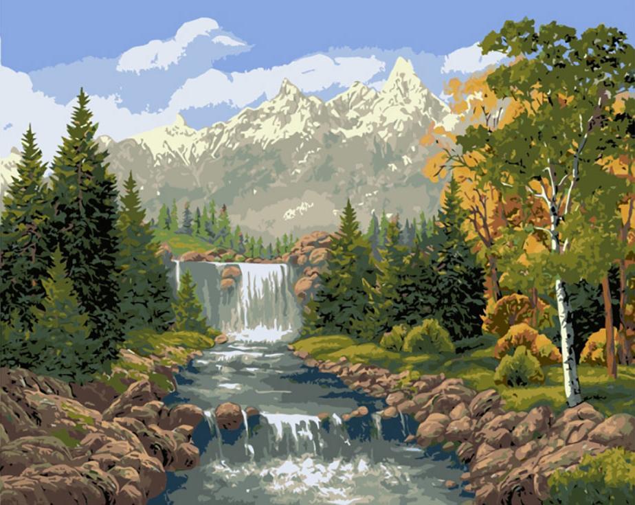 «Водопад в лесу»Paintboy (Premium)<br><br><br>Артикул: GX7361<br>Основа: Холст<br>Сложность: средние<br>Размер: 40x50 см<br>Количество цветов: 26<br>Техника рисования: Без смешивания красок