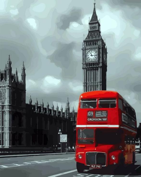 «Лондонский автобус»Раскраски по номерам Paintboy (Original)<br><br><br>Артикул: GX8104_R<br>Основа: Холст<br>Сложность: средние<br>Размер: 40x50 см<br>Количество цветов: 21<br>Техника рисования: Без смешивания красок