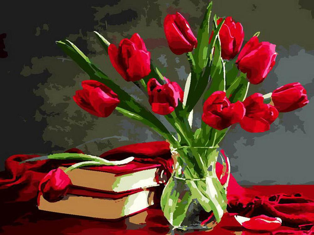 Купить Картина по номерам «Букет красных тюльпанов», Paintboy (Premium), Китай