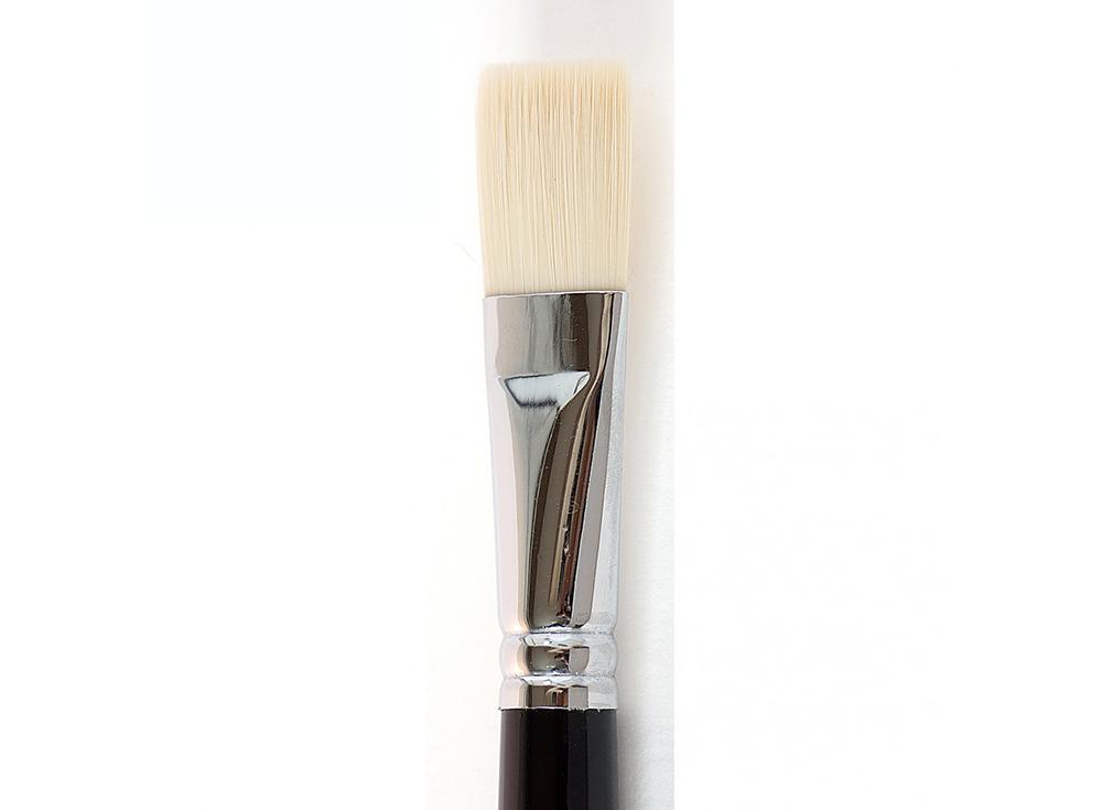 Кисть синтетическая «Зима» плоская №20Аксессуары для рисования картин по номерам<br>Кисть Малевичъ (серия «Зима») - имеет в меру жесткий и упругий волос, отлично подходит для ровного покрытия готовой картины лаком. Может быть использована для работы над картиной акриловыми или масляными красками.<br> <br> Длина ручки: 18 см <br> Обойма: цельно...<br><br>Артикул: 710020