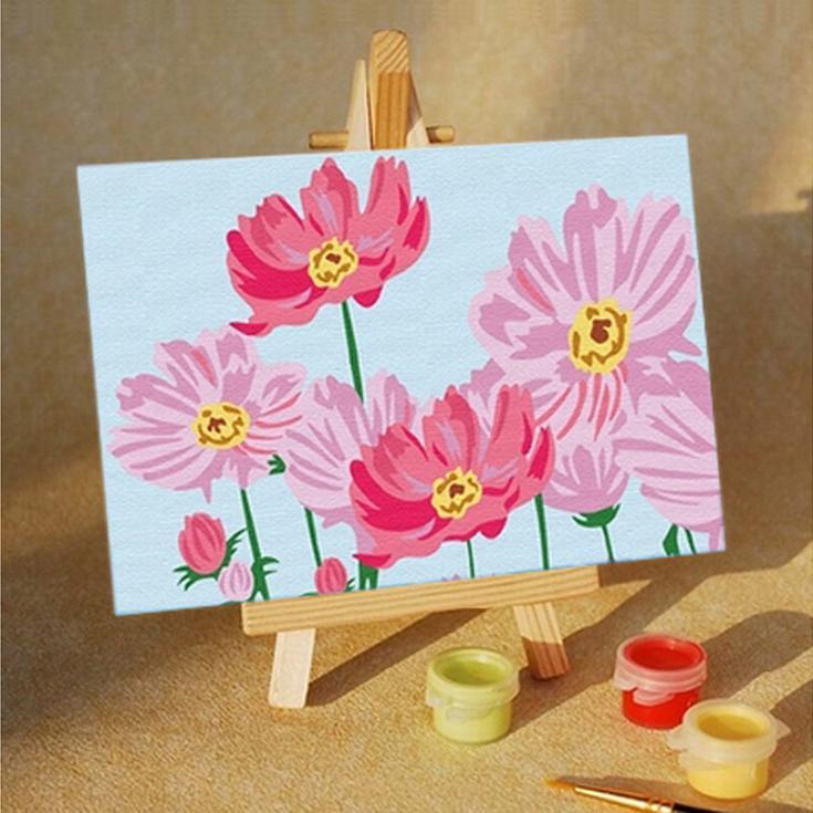 Цветочное настроениеЦветной (Premium)<br>Весенние цветы<br><br>Артикул: MA009_Z<br>Основа: Картон<br>Сложность: средние<br>Размер: 10x15 см<br>Количество цветов: 5<br>Техника рисования: Без смешивания красок