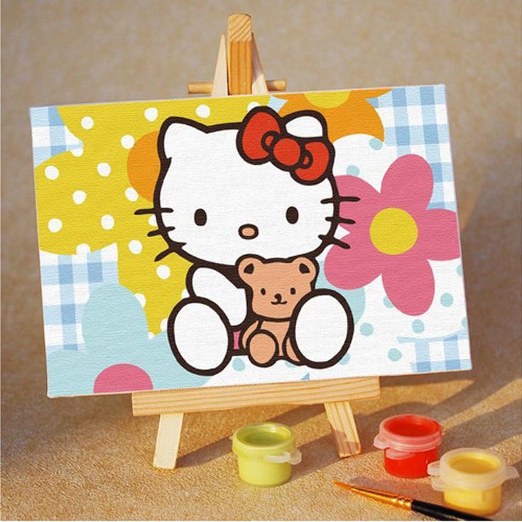 Картина по номерам «Kitty с цветами»Цветной (Premium)<br><br><br>Артикул: MA010_Z<br>Основа: Картон<br>Сложность: очень легкие<br>Размер: 10x15 см<br>Количество цветов: 8<br>Техника рисования: Без смешивания красок