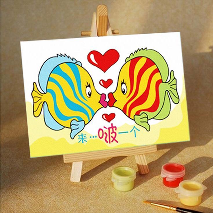 Картина по номерам «Поцелуй»Цветной (Premium)<br><br><br>Артикул: MA083_Z<br>Основа: Картон<br>Сложность: сложные<br>Размер: 10x15 см<br>Количество цветов: 10<br>Техника рисования: Без смешивания красок