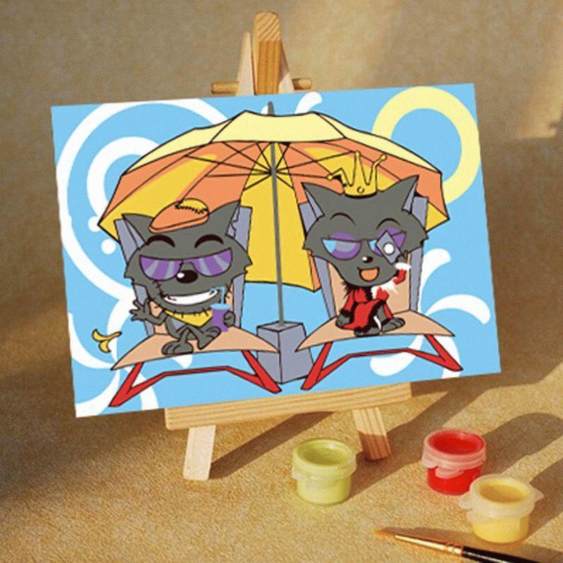 Котята под зонтомЦветной (Premium)<br><br><br>Артикул: MA113_Z<br>Основа: Картон<br>Сложность: очень легкие<br>Размер: 10x15<br>Количество цветов: 5<br>Техника рисования: Без смешивания красок