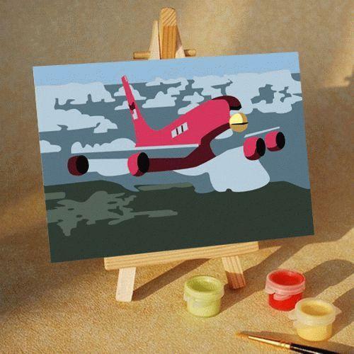 Картина по номерам «Самолет»Цветной (Premium)<br><br><br>Артикул: MA200_Z<br>Основа: Картон<br>Сложность: легкие<br>Размер: 10x15 см<br>Количество цветов: 5<br>Техника рисования: Без смешивания красок