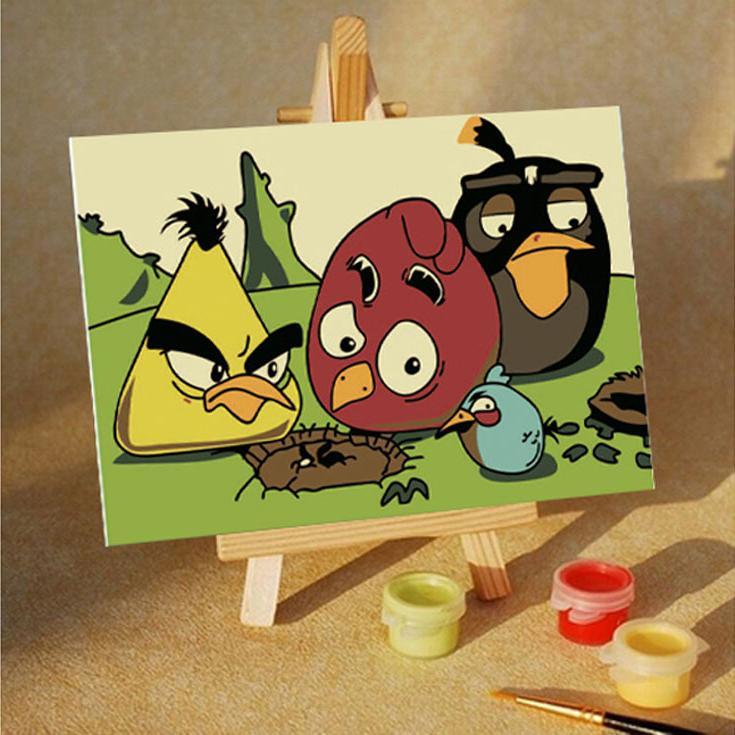 «Angry birds. Ой!»Цветной (Premium)<br><br><br>Артикул: MA203_Z<br>Основа: Картон<br>Сложность: очень легкие<br>Размер: 10x15 см<br>Количество цветов: 10<br>Техника рисования: Без смешивания красок