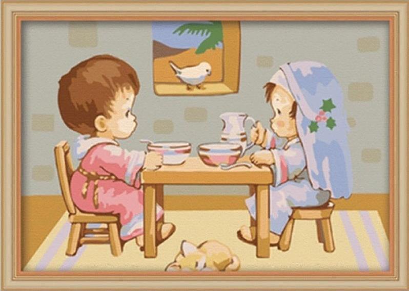 Завтрак у открытого окнаЦветной (Premium)<br><br><br>Артикул: MC007_Z<br>Основа: Холст<br>Сложность: легкие<br>Размер: 20x30 см<br>Количество цветов: 25<br>Техника рисования: Без смешивания красок