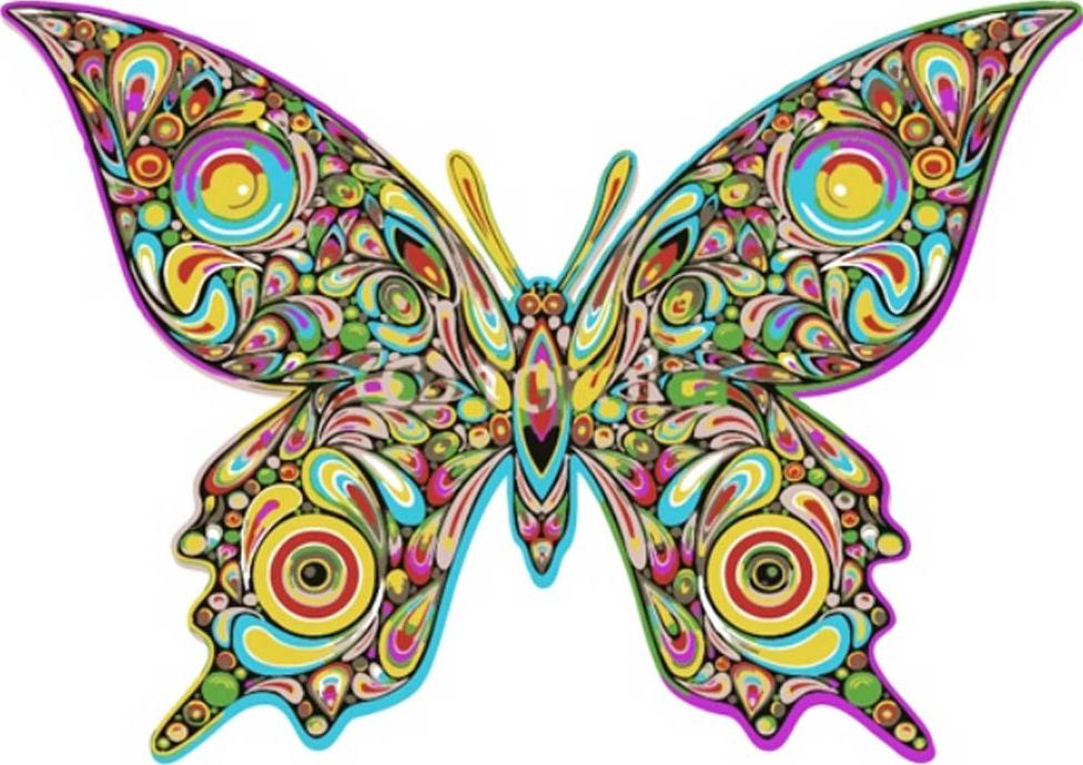 «Бабочка Гармония»Цветной (Premium)<br><br><br>Артикул: MC1007_Z<br>Основа: Холст<br>Сложность: легкие<br>Размер: 20x30 см<br>Количество цветов: 10<br>Техника рисования: Без смешивания красок