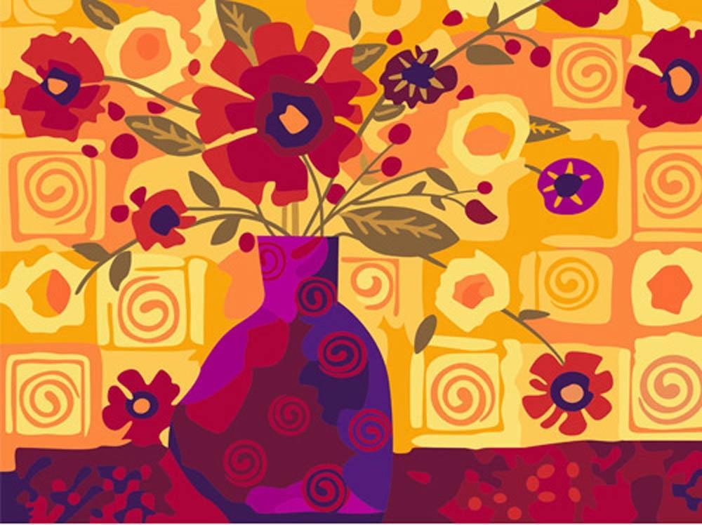Картина по номерам «Абстракция вазы с цветами»Цветной (Premium)<br><br><br>Артикул: ME043_Z<br>Основа: Холст<br>Сложность: сложные<br>Размер: 30x40 см<br>Количество цветов: 25<br>Техника рисования: Без смешивания красок
