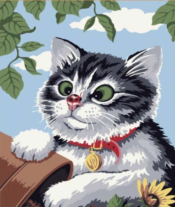 «Любопытный котенок»Цветной (Premium)<br><br><br>Артикул: ME085_Z<br>Основа: Цветной холст<br>Сложность: средние<br>Размер: 30x40 см<br>Количество цветов: 25<br>Техника рисования: Без смешивания красок