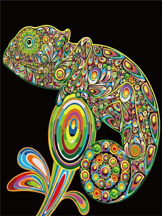 «Хамелеон»Цветной (Premium)<br><br><br>Артикул: ME1005_Z<br>Основа: Холст<br>Сложность: легкие<br>Размер: 30x40 см<br>Количество цветов: 25<br>Техника рисования: Без смешивания красок