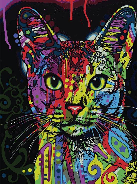 «Абиссинский кот» Дина РуссоЦветной (Premium)<br><br><br>Артикул: ME1006_Z<br>Основа: Цветной холст<br>Сложность: легкие<br>Размер: 30x40 см<br>Количество цветов: 25<br>Техника рисования: Без смешивания красок