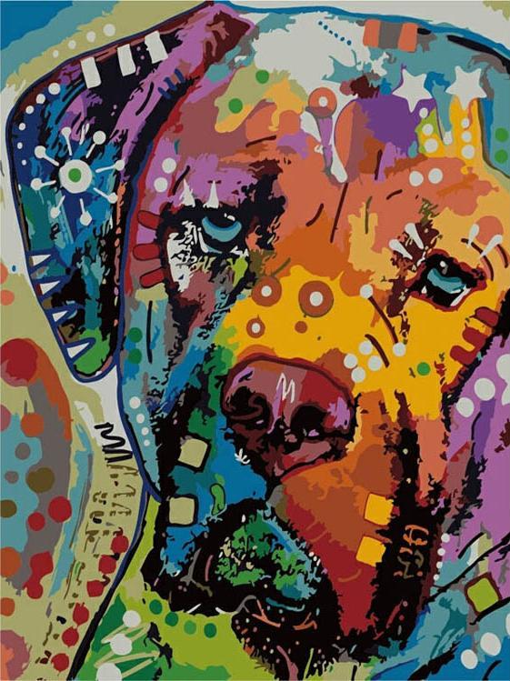 Картина по номерам «Разноцветный пёс» Дина Руссо