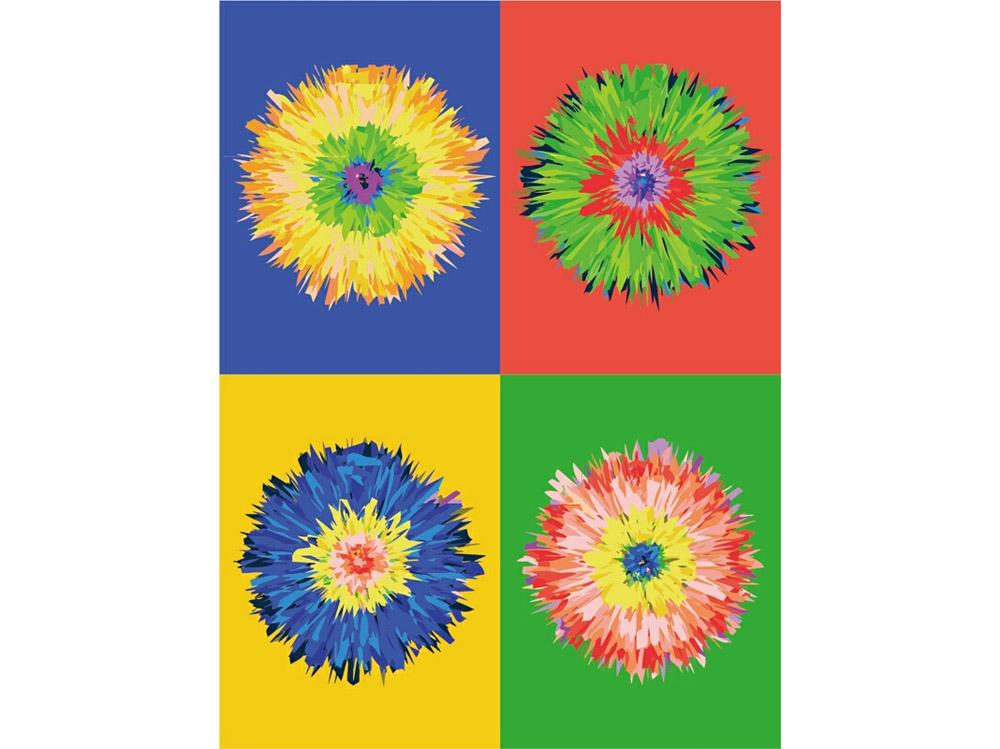 «Цветок поп-арта»Цветной (Premium)<br><br><br>Артикул: ME1010_Z<br>Основа: Холст<br>Сложность: средние<br>Размер: 30x40 см<br>Количество цветов: 25<br>Техника рисования: Без смешивания красок