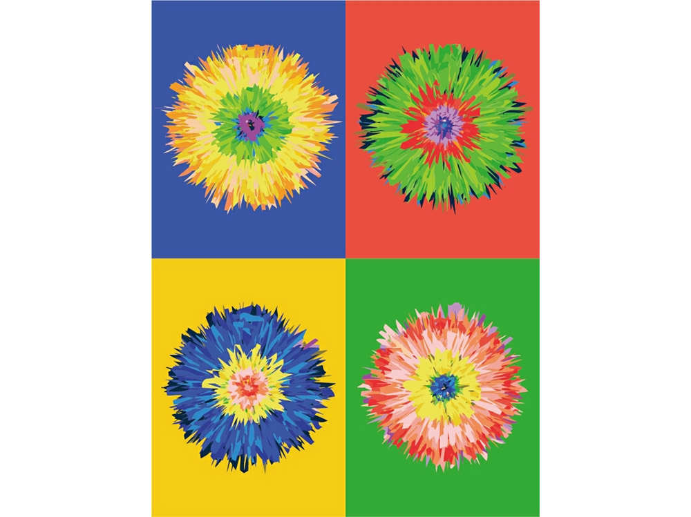 Картина по номерам «Цветок поп-арта»Цветной (Premium)<br><br><br>Артикул: ME1010_Z<br>Основа: Холст<br>Сложность: средние<br>Размер: 30x40 см<br>Количество цветов: 25<br>Техника рисования: Без смешивания красок