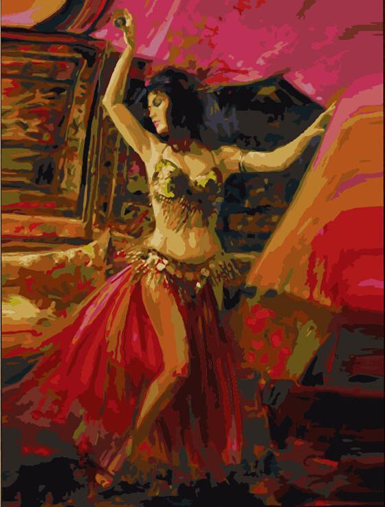 «Танец живота»Цветной (Premium)<br><br><br>Артикул: MG01_Z<br>Основа: Холст<br>Сложность: сложные<br>Размер: 40x50 см<br>Количество цветов: 25<br>Техника рисования: Без смешивания красок