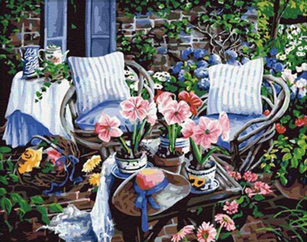 «Оранжерея» Сьюзан РиосЦветной (Premium)<br>Картины Сьюзан Риос всегда очень подробны и тщательно продуманы, кстати, есть одна особенность, свойственная ее сюжетам - практически на всех полотнах этой художницы изображены цветы. И это объясняется просто, ведь она когда-то была флористом, и ее любовь...<br><br>Артикул: MG016_Z<br>Основа: Холст<br>Сложность: очень сложные<br>Размер: 40x50 см<br>Количество цветов: 27<br>Техника рисования: Без смешивания красок