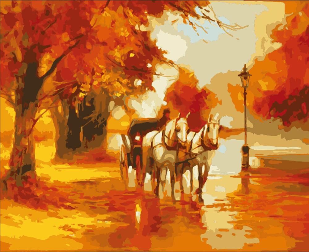 «Осенняя выездка» Алексея ШалаеваЦветной (Premium)<br><br><br>Артикул: MG02_Z<br>Основа: Холст<br>Сложность: сложные<br>Размер: 40x50<br>Количество цветов: 25<br>Техника рисования: Без смешивания красок