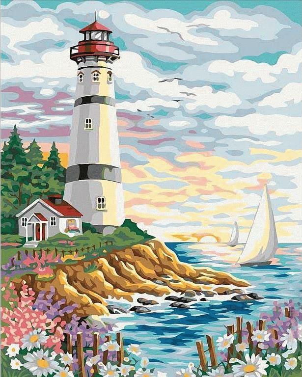 Картина по номерам Цветной (Premium) Красочный маяк MG086_Z