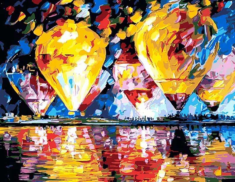 Картина по номерам «Воздухоплавание» Леонида АфремоваЦветной (Premium)<br>Стиль Леонида Афремова – яркий, оптимистичный и выразительный. Разве можно пройти мимо такого красочного шедевра, как картина по номерам «Воздухоплавание»? Раскованность и щедрость жизненной силы, присущие сюжетам Афремова, как будто говорят всем без искл...<br><br>Артикул: MG1012_Z<br>Основа: Цветной холст<br>Сложность: средние<br>Размер: 40x50 см<br>Количество цветов: 25<br>Техника рисования: Без смешивания красок