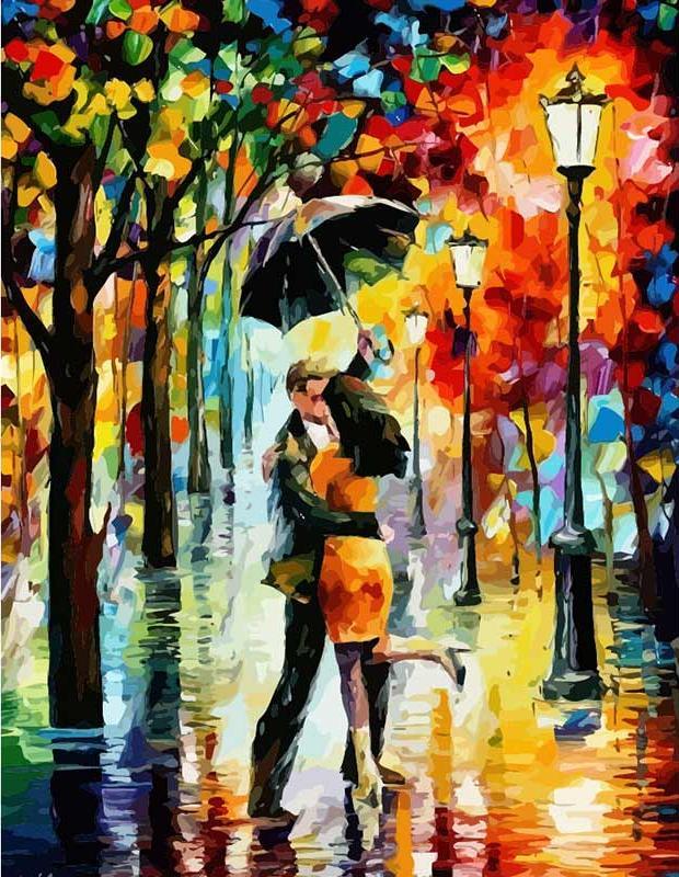 «Под дождём» Леонида АфремоваЦветной (Premium)<br>Вы знаете, как добавить романтику в сложившуюся семейную жизнь? Вспомнить волшебное чувство влюбленности? Ведь все на самом деле очень просто – скажите своей второй половинке о любви вслух, пригласите на прогулку, сделайте оригинальный подарок просто так,...<br><br>Артикул: MG1016_Z<br>Основа: Цветной холст<br>Сложность: средние<br>Размер: 40x50 см<br>Количество цветов: 25<br>Техника рисования: Без смешивания красок