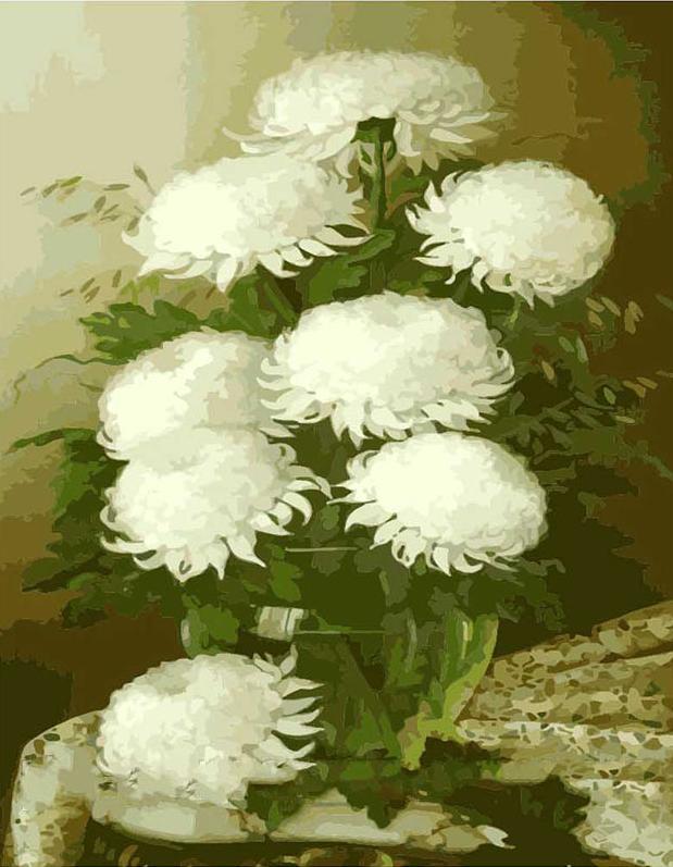 Картина по номерам «Белые Хризантемы»Цветной (Premium)<br><br><br>Артикул: MG1066_Z<br>Основа: Холст<br>Сложность: средние<br>Размер: 40x50 см<br>Количество цветов: 25<br>Техника рисования: Без смешивания красок