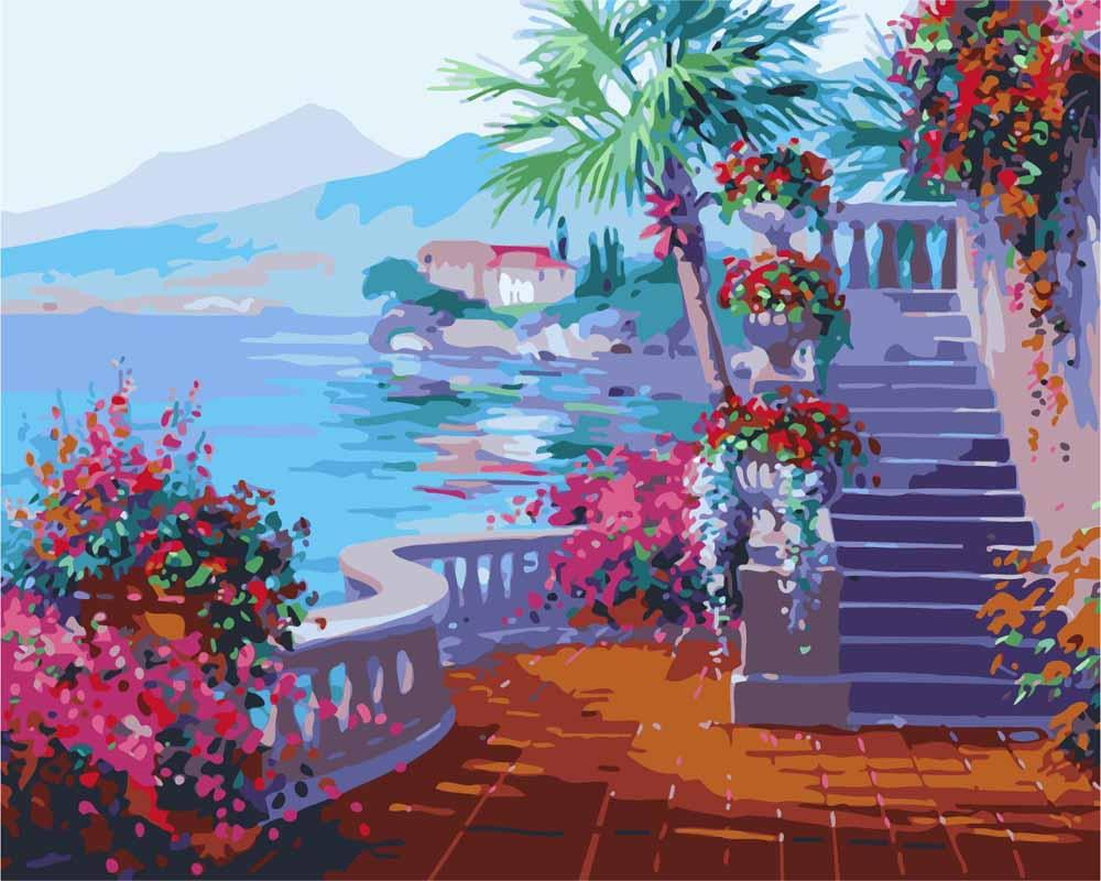 Картина по номерам «Романтика озера Комо» Микки СенкарикЦветной (Premium)<br><br><br>Артикул: MG1094_Z<br>Основа: Холст<br>Сложность: сложные<br>Размер: 40x50 см<br>Количество цветов: 25<br>Техника рисования: Без смешивания красок