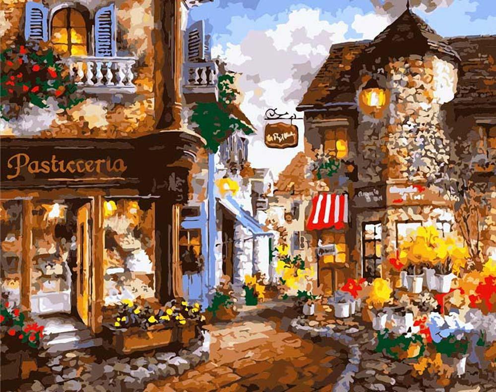 «Уютная улочка» Ники БоэмЦветной (Premium)<br><br><br>Артикул: MG1115_Z<br>Основа: Холст<br>Сложность: сложные<br>Размер: 40x50 см<br>Количество цветов: 25<br>Техника рисования: Без смешивания красок