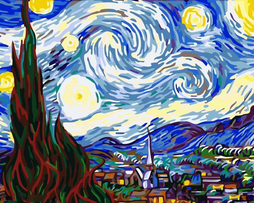 «Звездная ночь» Ван ГогаЦветной (Premium)<br>Можно ли купить картину Ван Гога «Звездная ночь»? Нет, ведь это бесценный шедевр, и он не продается. Но ехать в Нью-Йоркский музей современного искусства, где хранится оригинал, каждый раз, когда захочется посмотреть на великолепное полотно – очень затрат...<br><br>Артикул: MG124_Z<br>Основа: Цветной холст<br>Сложность: средние<br>Размер: 40x50 см<br>Количество цветов: 25<br>Техника рисования: Без смешивания красок