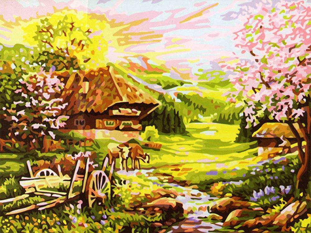 «Розовый рассвет»Цветной (Premium)<br><br><br>Артикул: MG148_Z<br>Основа: Холст<br>Сложность: сложные<br>Размер: 40x50<br>Количество цветов: 25<br>Техника рисования: Без смешивания красок