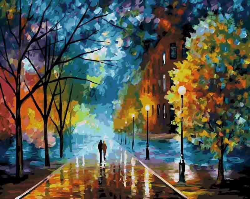 «Жизнь прекрасна» Леонида АфремоваMenglei (Premium)<br>Многие считают осень унылой порой, а дождь - преградой для прогулок, но Леонид Афремов великолепно развеивает этот миф. Осень - прекрасное время года, когда деревья надевают разноцветный наряд, который вечер и свет уличных фонарей приукрашивают новыми отт...<br><br>Артикул: mg158<br>Основа: Холст<br>Сложность: сложные<br>Размер: 40x50 см<br>Количество цветов: 19<br>Техника рисования: Без смешивания красок
