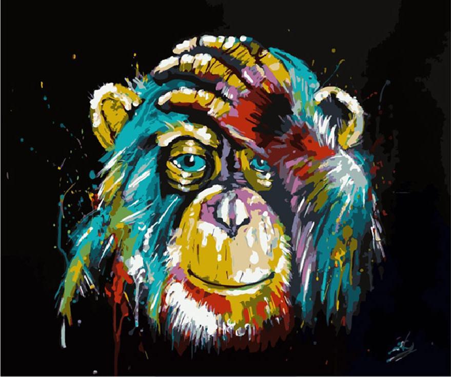 «Разноцветная обезьяна»Цветной (Premium)<br><br><br>Артикул: MG2033_Z<br>Основа: Холст<br>Сложность: сложные<br>Размер: 40x50 см<br>Количество цветов: 25<br>Техника рисования: Без смешивания красок