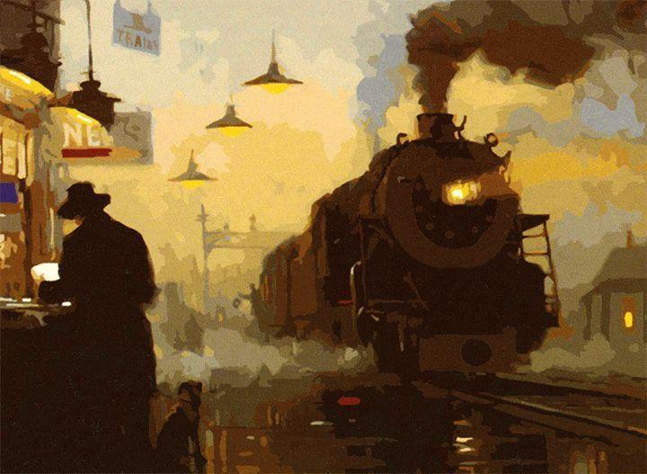 """«Вокзал» Дэвида ТатуилераЦветной (Premium)<br>Картина по номерам """"Вокзал"""" выбивается из обычный линейки сюжетов своей цветовой гаммой. Теплые, насыщенные цветом оттенки и глубокий философский смысл полотна Дэвида Татуилера создают особенное настроение при работе над этой раскраской. Вокзал всегда был...<br><br>Артикул: MG297_Z<br>Основа: Холст<br>Сложность: очень сложные<br>Размер: 40x50 см<br>Количество цветов: 25<br>Техника рисования: Без смешивания красок"""