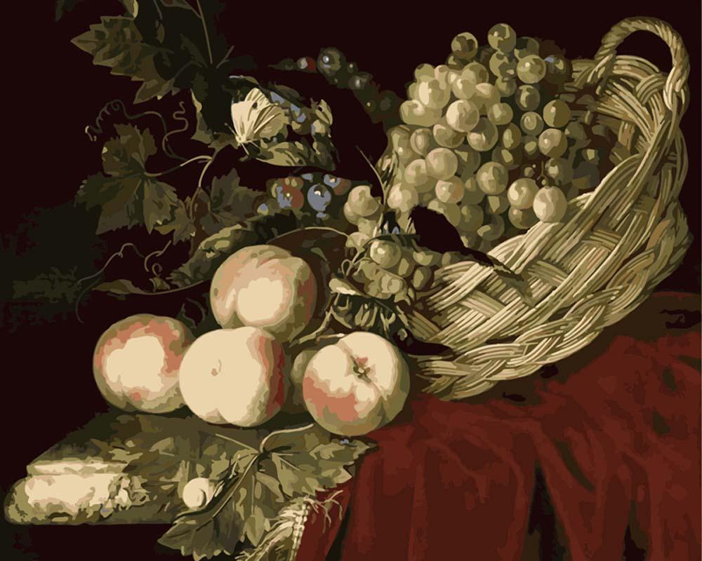 «Натюрморт с фруктами» Виллема ван АлстаЦветной (Premium)<br><br><br>Артикул: MG3011_Z<br>Основа: Холст<br>Сложность: сложные<br>Размер: 40x50<br>Количество цветов: 25<br>Техника рисования: Без смешивания красок