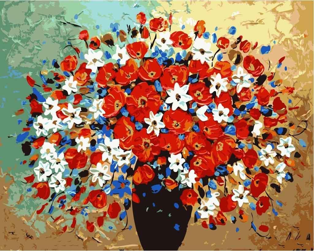 Картина по номерам «Букет летних воспоминаний»Цветной (Premium)<br><br>